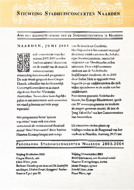 Programma 2003 - 2004